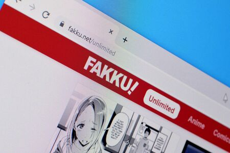 NY, USA - DECEMBER 16, 2019: Homepage of fakku website on the display of PC, url - fakku.net.