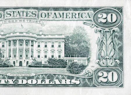 Billete de 20 dólares estadounidenses con fragmento de macro de primer plano de la casa blanca. Proyecto de ley de dinero de veinte dólares de los Estados Unidos de cerca