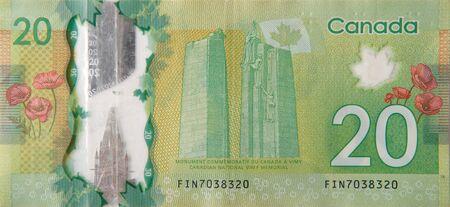 Canadian National Vimy Ridge Memorial desde Canadá 20 dólares 2012 fragmento de billetes de polímero cerrar