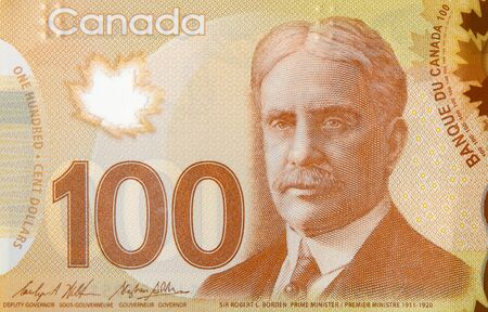 Robert Borden Portrait from Canada 100 Dollars 2011 Polymer Banknote fragment close up