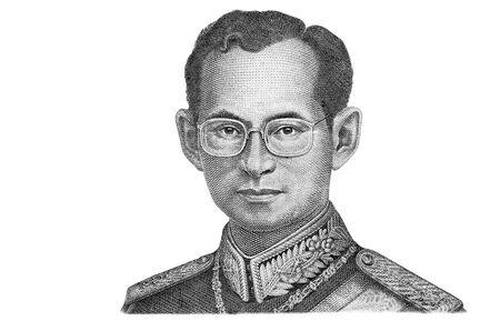Portrait of King Bhumibol Adulyadej from 50 Baht Thailand money bill close up isolated on white background