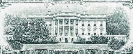 US 20 dollars banknote with white house closeup macro fragment. United states twenty dollars money bill close up