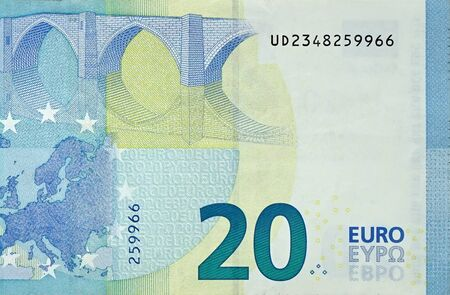 Fragment part of 20 euro banknote close-up with small blue details. European currency bill Reklamní fotografie