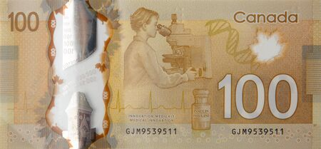 Discovery of insulin into diabetes treatment from Canada 100 Dollars 2011 Polymer Banknotes. Medical innovation