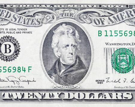 Retrato del presidente estadounidense Andrew Jackson en el fragmento de macro de primer plano de billetes de 20 dólares. Proyecto de ley de dinero de veinte dólares de los Estados Unidos de cerca