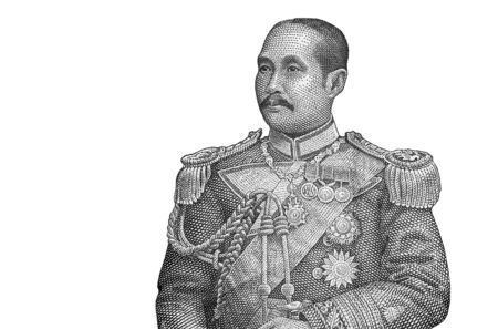 Portrait of Chulalongkorn also known as King Rama V was the fifth monarch of Siam under the House of Chakri. Fragment of 100 Baht Thailand currency bill 2004