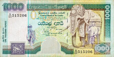 1000 Sri Lankan rupees money bill. National currency of Sri Lanka colored banknote