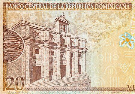 Panteon Nacional building depicted on old twenty peso note Dominican republic money. Rear side orange bill