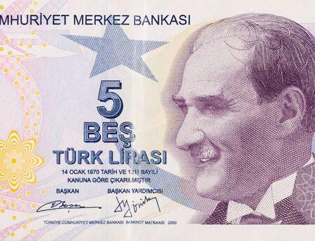 President Mustafa Kemal Ataturk Portrait from Turkey 5 Lira 2009 Banknotes close up fragment Stock fotó