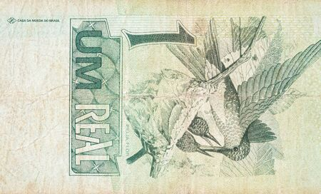 Beija flor hummingbird or colibri depicted on old one real note Brazilian money. Back side green bill Stock fotó
