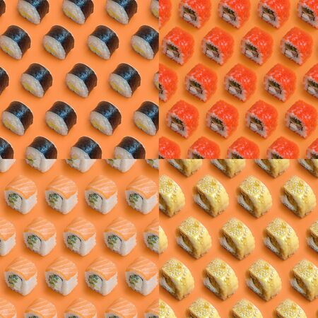 Collage with Different types of asian sushi rolls on orange background close up. Minimalism top view flat lay pattern with Japanese food 스톡 콘텐츠