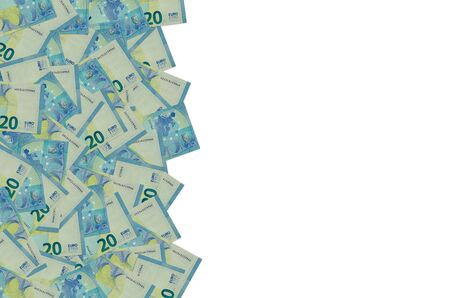 Pattern part of 20 euro banknote close-up with small blue details. European currency bill