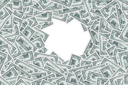 US 20 dollars banknote with white house closeup macro pattern. United states twenty dollars money bill close up