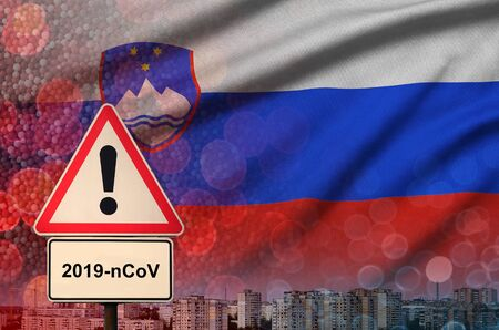 Slovenia flag and virus 2019-nCoV alert sign. Concept of high probability of novel virus outbreak through traveling Chinese tourists