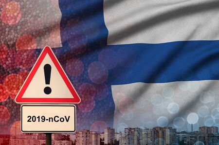 Finland flag and virus 2019-nCoV alert sign. Concept of high probability of novel virus outbreak through traveling Chinese tourists