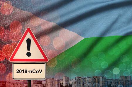 Djibouti flag and virus 2019-nCoV alert sign.
