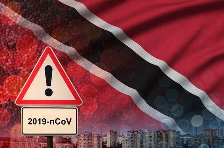 Trinidad and Tobago flag and virus 2019-nCoV alert sign.