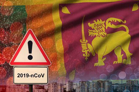 Sri Lanka flag and virus 2019-nCoV alert sign.
