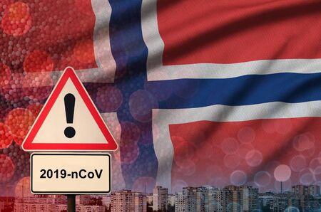 Norway flag and virus 2019-nCoV alert sign.
