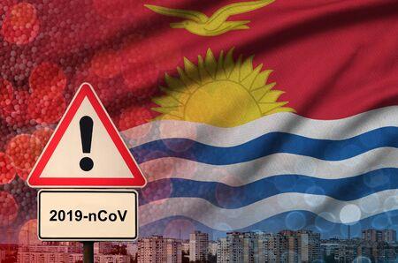 Kiribati flag and virus 2019-nCoV alert sign.