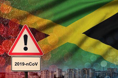 Jamaica flag and virus 2019-nCoV alert sign.