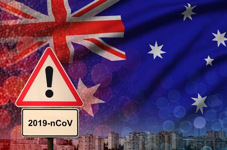 Australia flag and virus 2019-nCoV alert sign.