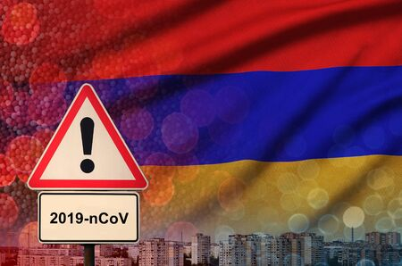 Armenia flag and virus 2019-nCoV alert sign.