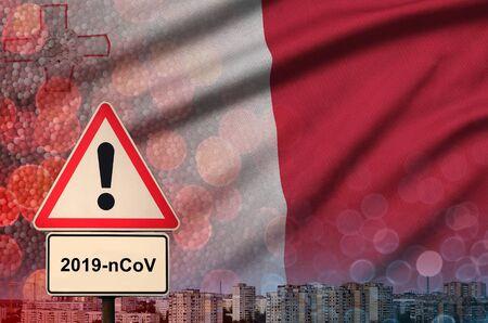 Malta flag and virus 2019-nCoV alert sign.