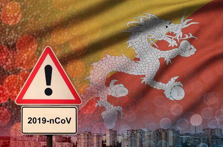 Bhutan flag and virus 2019-nCoV alert sign.
