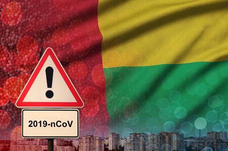 Guinea Bissau flag and virus 2019-nCoV alert sign. 版權商用圖片