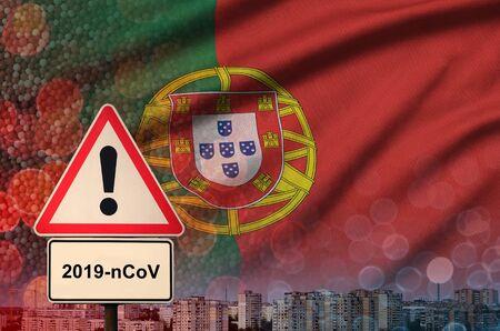 Portugal flag and virus 2019-nCoV alert sign. Stock fotó