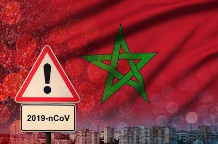 Morocco flag and virus 2019-nCoV alert sign.