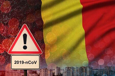 Belgium flag and virus 2019-nCoV alert sign.