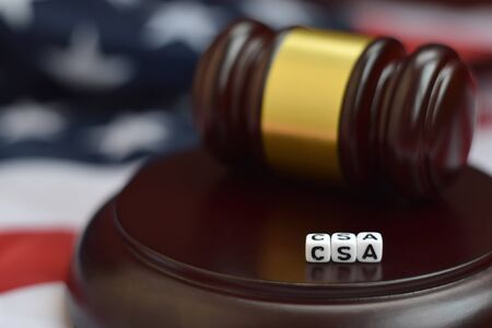 Justice mallet and CSA acronym close up. Controlled substances act 版權商用圖片