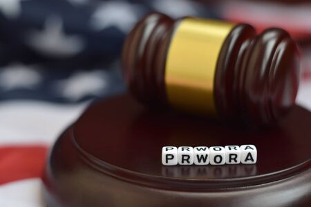 Justice mallet and PRWORA acronym close up. Personal responsibility and work opportunity reconciliation act 版權商用圖片