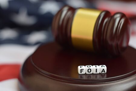 Justice mallet and FOIA acronym close up. Freedom of information act 版權商用圖片
