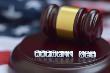 Justice mallet and Refugee act characters close up with US flag on background
