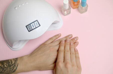 Close up female hands with beautiful trendy transparent manicure on white table background. Different modern tools for making long lasting gel polish manicure. Nail polish bottles and UV LED lamp