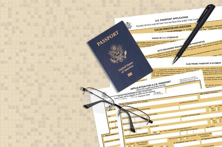 Department of State form DS11 Application for a U.S. Passport lies on table and ready to fill. Paperwork during operations with US Passport concept. Flat lay top view Foto de archivo