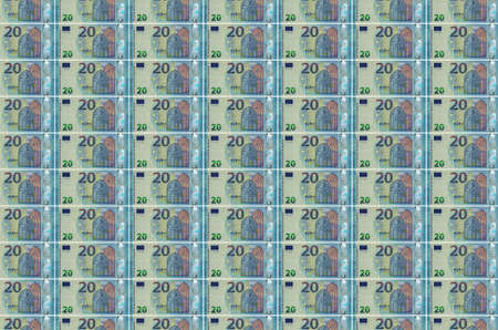 20 euro bills printed in money production conveyor. Collage of many bills. Concept of currency inflation and devaluation