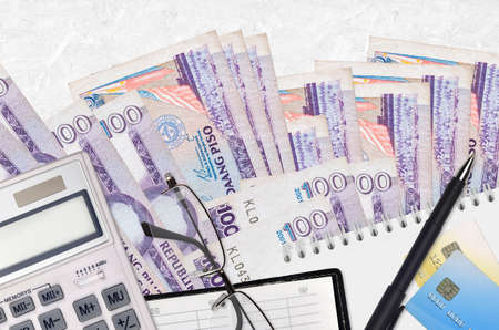 100 Philippine piso bills and calculator with glasses and pen. Tax payment season concept or investment solutions. Financial planning or accountant paperwork
