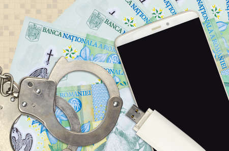 1 Romanian leu bills and smartphone with police handcuffs. Concept of hackers phishing attacks, illegal scam or online spyware soft distribution Banco de Imagens