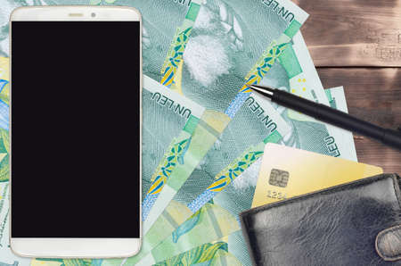 1 Romanian leu bills and smartphone with purse and credit card. E-payments or e-commerce concept. Online shopping and business with portable devices usage