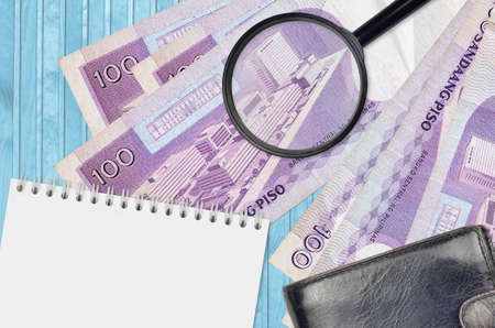 100 Philippine piso bills and magnifying glass with black purse and notepad. Concept of counterfeit money. Search for differences in details on money bills to detect fake money Banco de Imagens