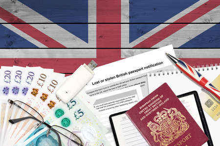 English form LS01 Lost or stolen british passport notification from HM passport office lies on table with office items. UK passport paperwork process