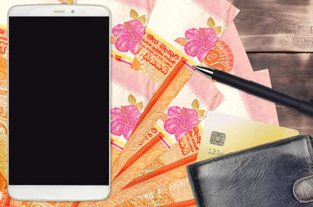 100 Sri Lankan rupees bills and smartphone with purse and credit card. E-payments or e-commerce concept. Online shopping and business with portable devices usage