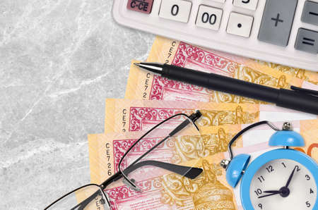 20 Belorussian rubles bills and calculator with glasses and pen. Business loan or tax payment season concept. Financial planning and time to pay taxes