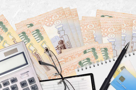 100 Ukrainian hryvnias bills and calculator with glasses and pen. Tax payment season concept or investment solutions. Financial planning or accountant paperwork
