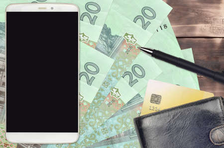 20 Ukrainian hryvnias bills and smartphone with purse and credit card. E-payments or e-commerce concept. Online shopping and business with portable devices usage