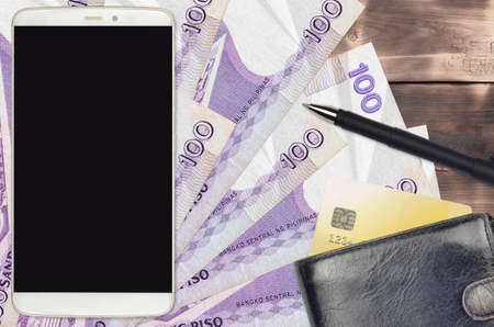 100 Philippine piso bills and smartphone with purse and credit card. E-payments or e-commerce concept. Online shopping and business with portable devices usage